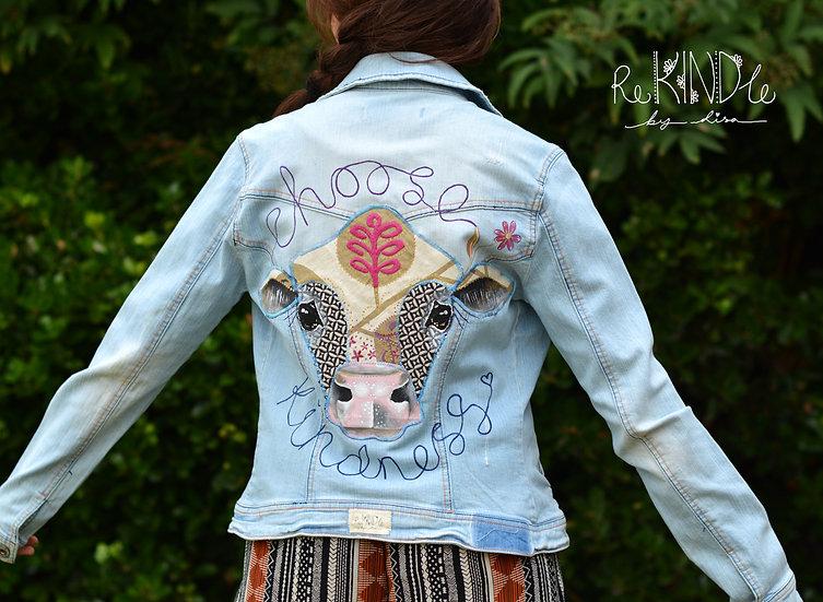Hand painted, embellished Size UK 12 Vegan Jacket