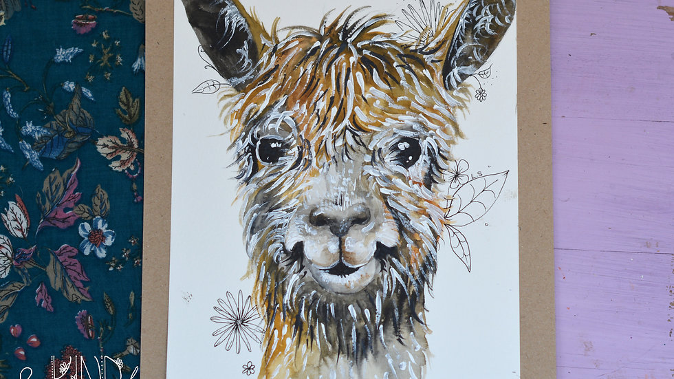 Original Watercolour Painting (Llama)