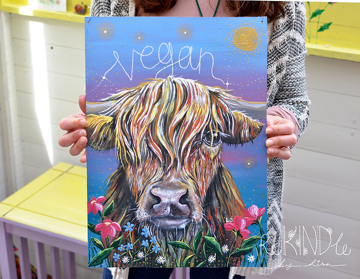 Recycled Hardboard Highland Cow 'Vegan' Painting