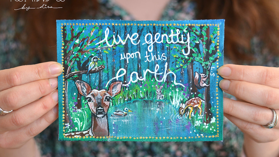 Painted Woodland 'Live Gently' Sew on Patch