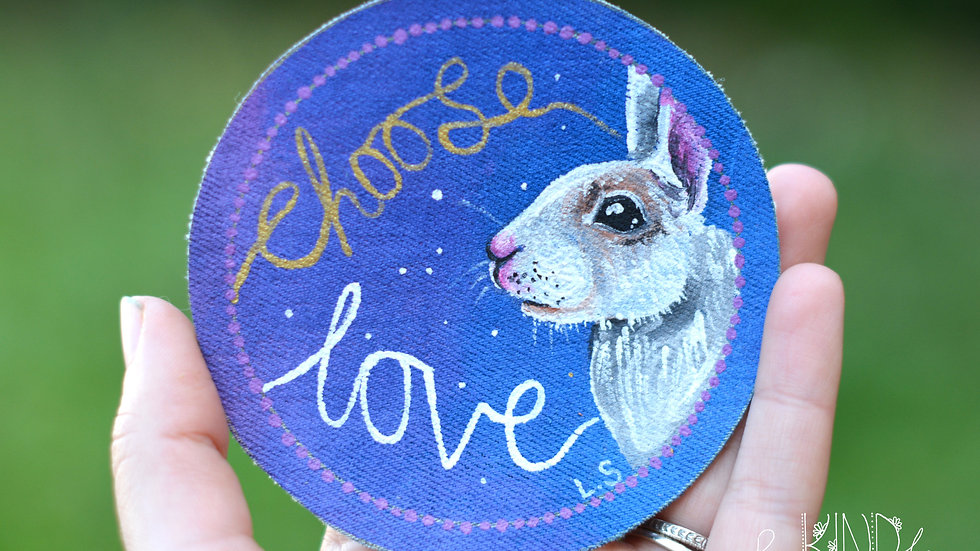 Hand Painted Bunny Circle Patch