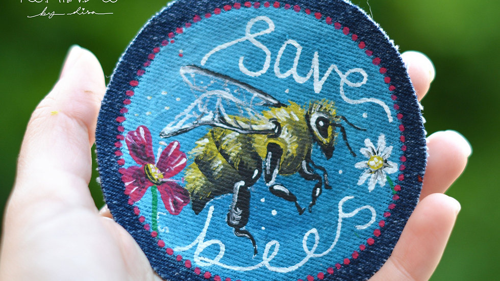 Hand Painted Bee Circle Sew On Patch