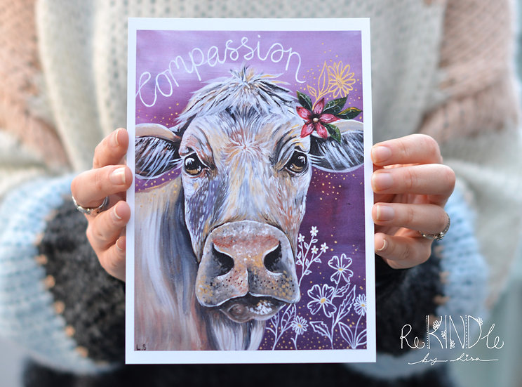 A5 Recycled Card Print 'Cow Compassion'