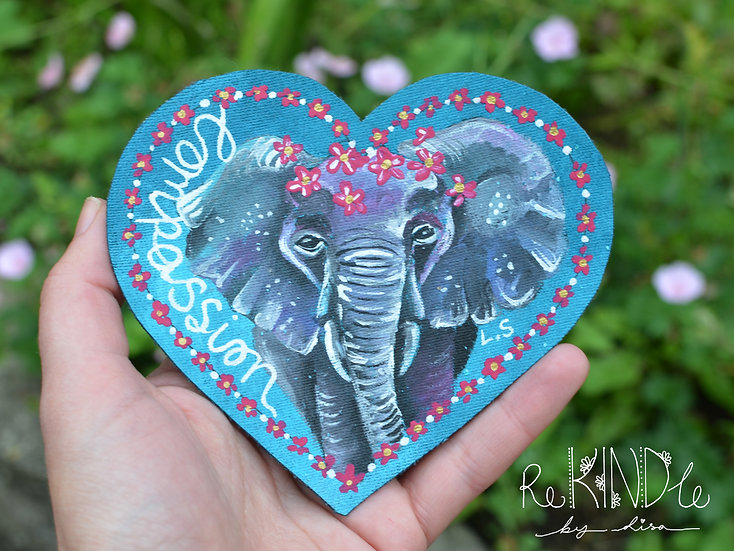 Hand Painted Vegan Elephant Sew On Patch 'Compassion'