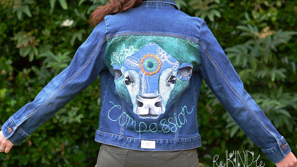 Hand painted, embellished Size UK 10 Vegan Jacket