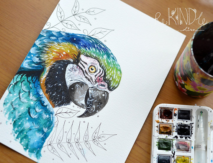 Original Watercolour Painting (Macaw))