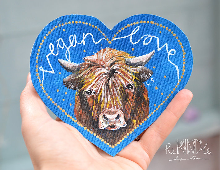 Hand Painted Highland Cow Sew On Patch