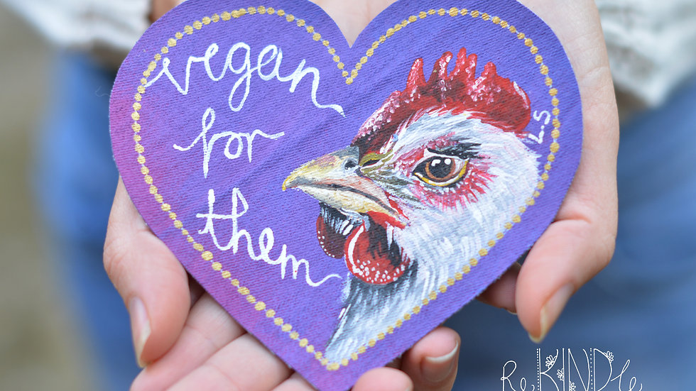 Hand Painted Chicken 'Vegan for Them' Sew On Patch