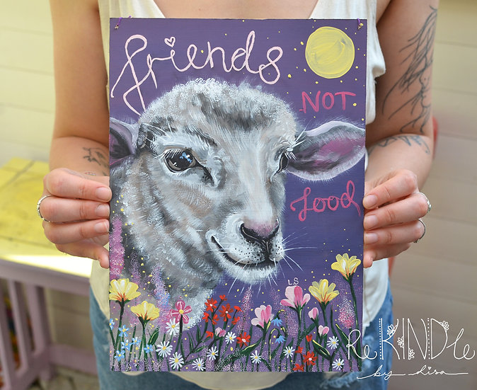 A4 Original Vegan Painting on Upcycled Hardboard 'Friends not Food' Sheep