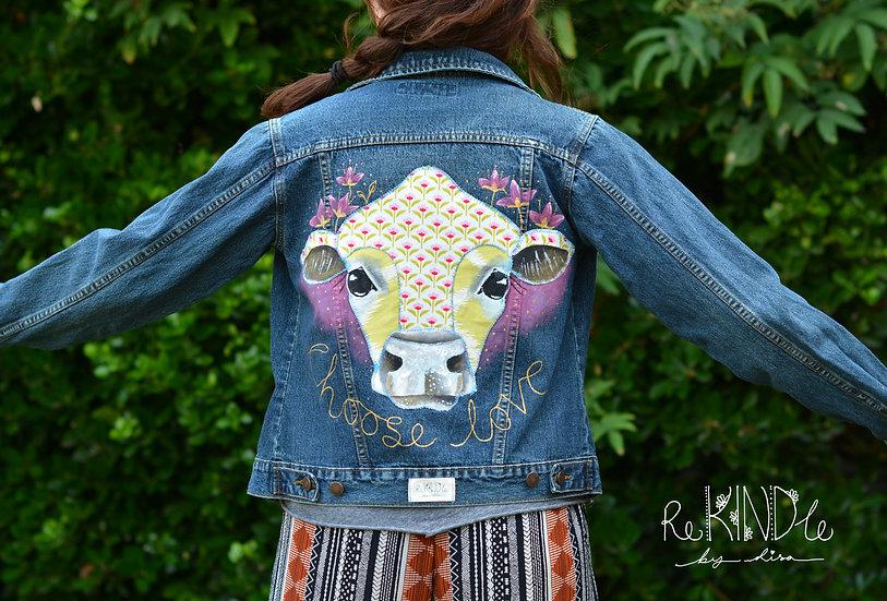 Size UK 10 Upcycled, Hand Painted & Embellished Vegan Denim Jacket