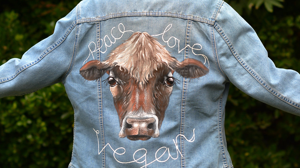 Hand painted, embellished Size UK 16 Vegan Jacket
