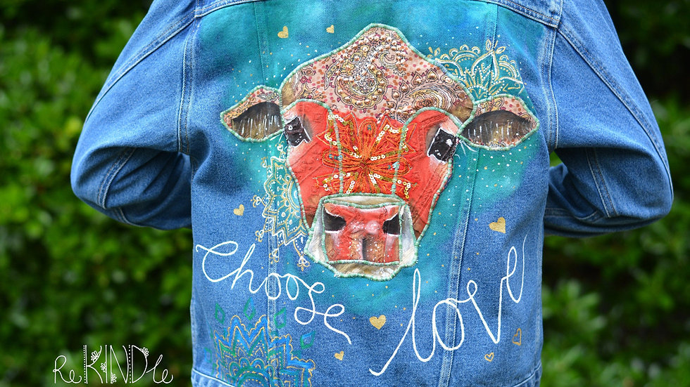 Size UK 14 Upcycled ,Vegan jacket