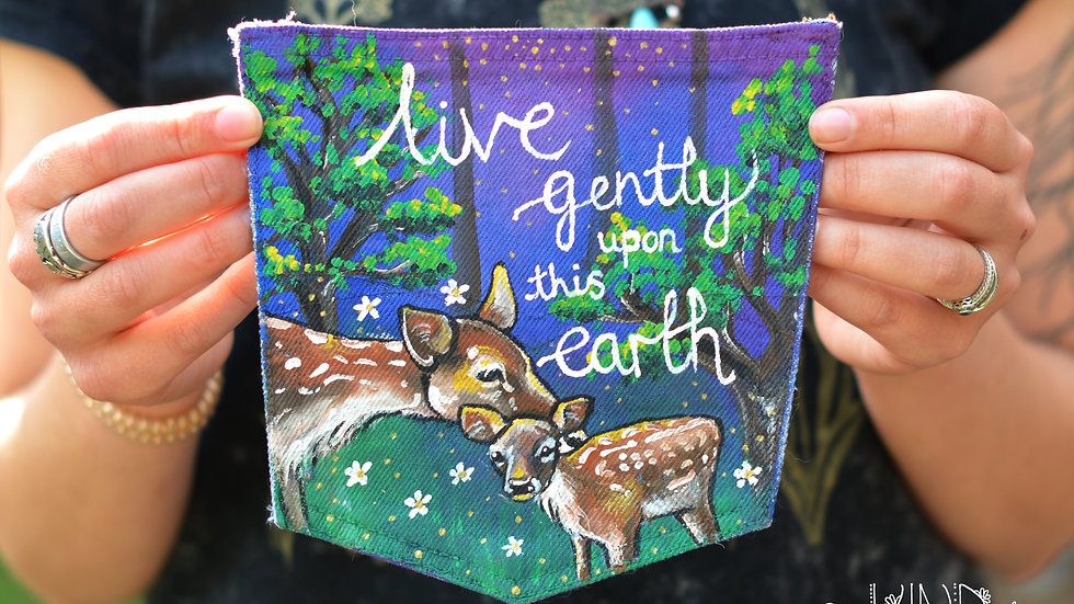 Painted Deer 'Live Gently' Sew on Pocket Patch