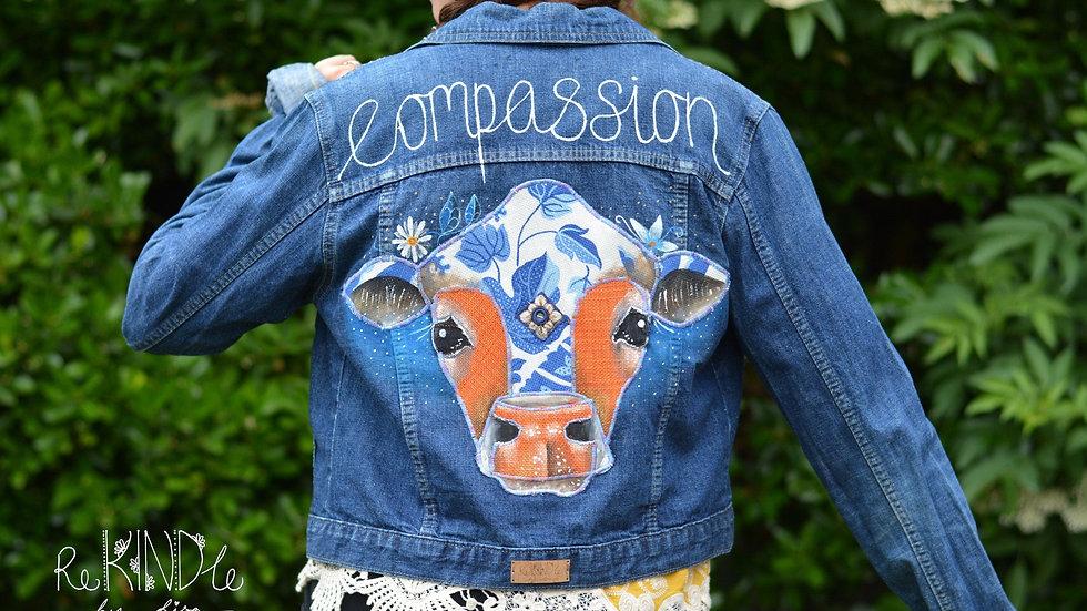 Size UK 12 Vegan, Hand Painted, Embellished jacket