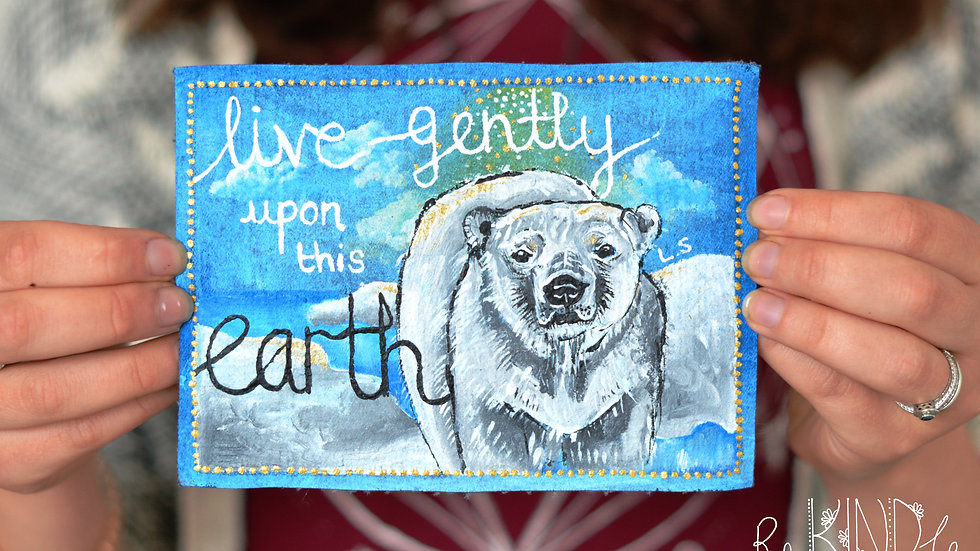 'Live Gently' Painted Polar Bear Sew on Patch