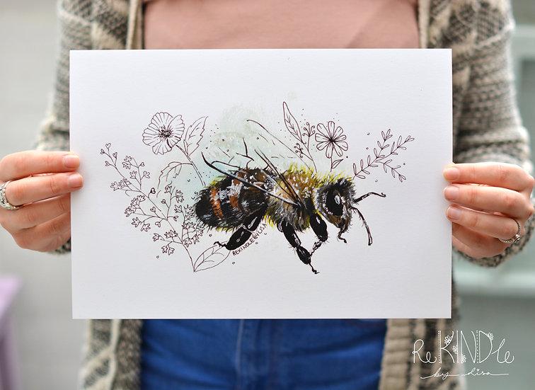 A4 Bee Art Print