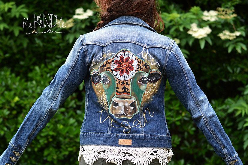 Size UK 6 Upcycled Hand Painted, Embellished Jacket