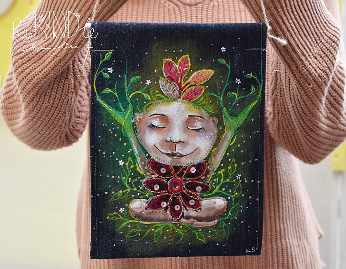'Ruby' the Self- Love Nature Pixie Upcycled Denim Wall Hanging