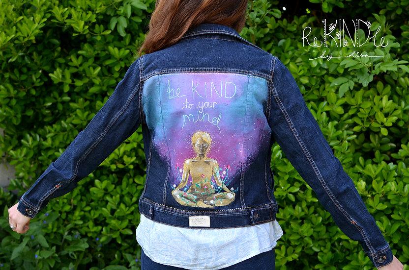 Size UK 10 Hand Painted, Upcycled, Vegan Denim Jacket 'Be Kind toYour Mind'