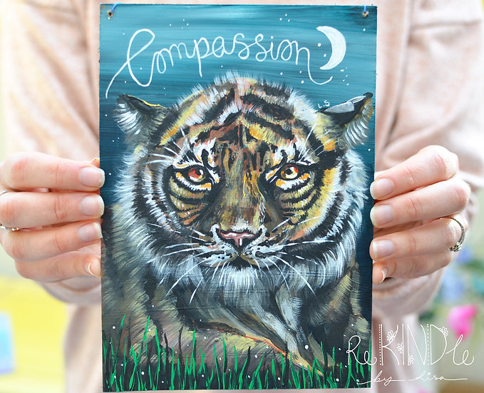A5 Recycled Hardboard Tiger Painting