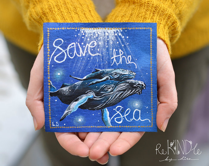 Hand Painted Vegan Sew on Patch Whales