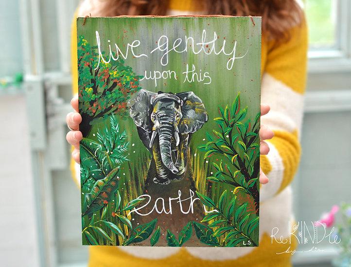 Acrylic on Upcycled Hard Board 'Elephant'
