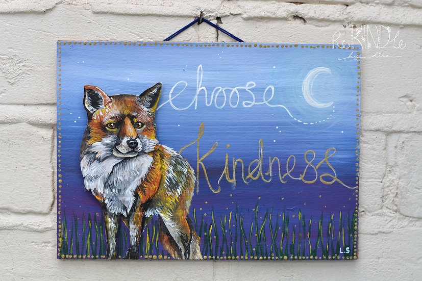 Hand painted, Original, Upcycled 3D Fox Wall Art
