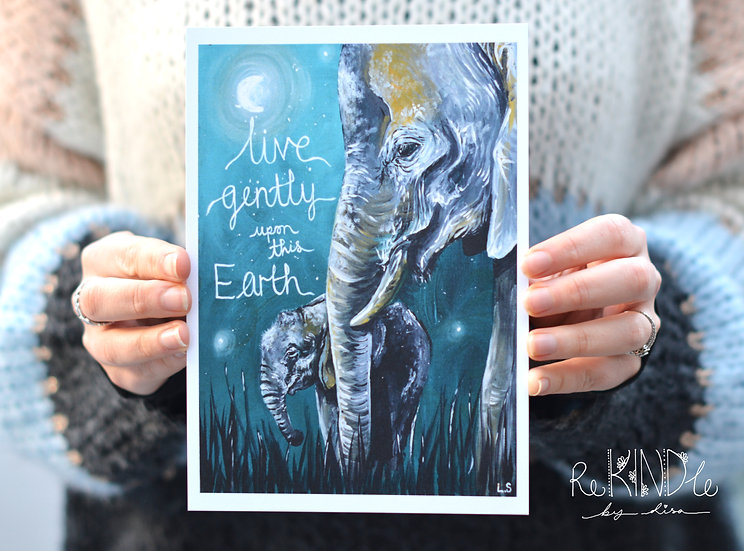 A4/ A5 Recycled Card Print 'Elephants Live Gently'