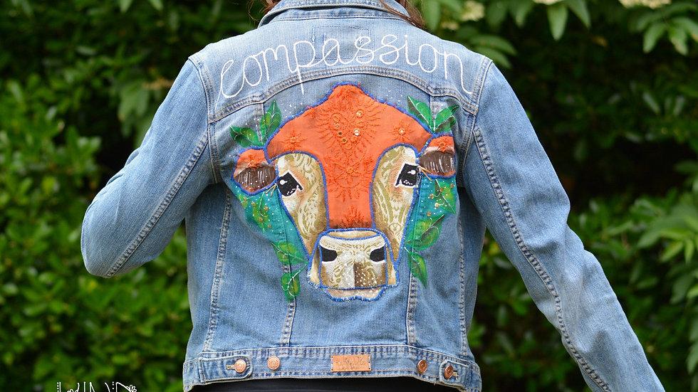 Size UK 8 Upcycled Hand Painted, Embellished Jacket