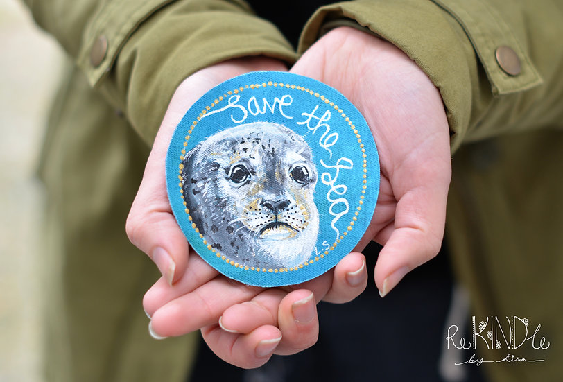 Hand Painted 'Save the Sea' Seal Patch