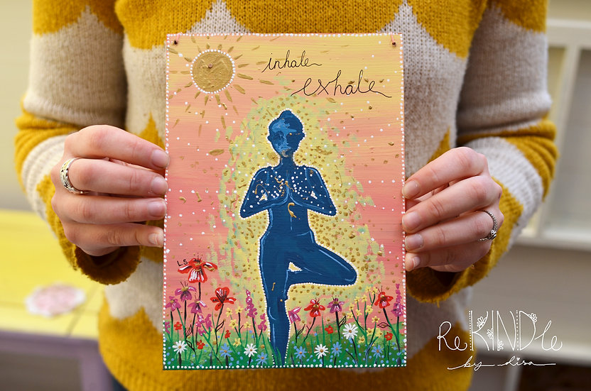 'Inhale, Exhale' Original Yoga Art on Recycled Hardboard