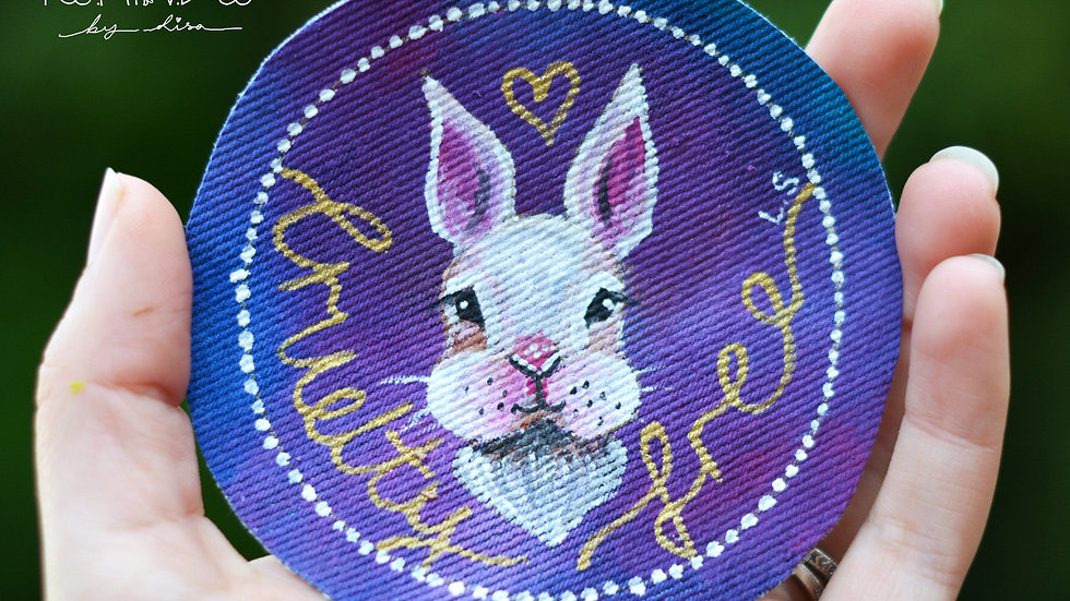 Hand Painted Bunny Circle Sew On Patch