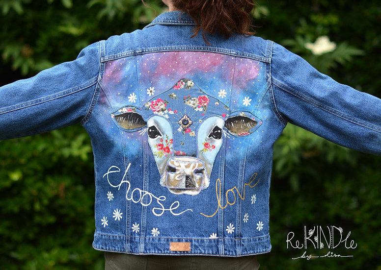 Size UK 16 Upcycled ,Vegan, Hand Painted Denim Jacket