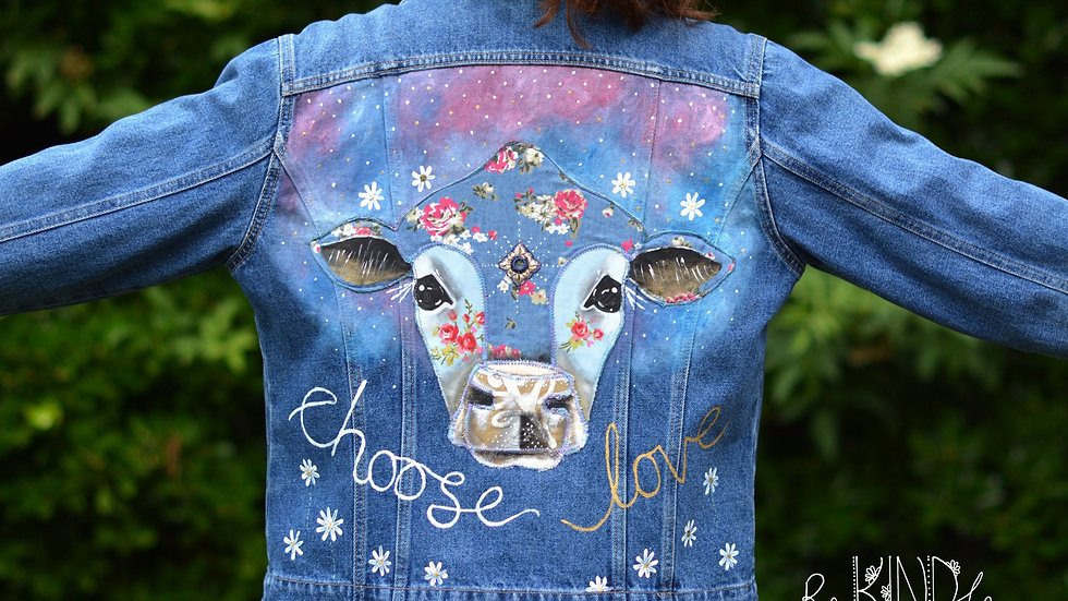 Size UK 16 Upcycled ,Vegan, Hand Painted Denim Jacket