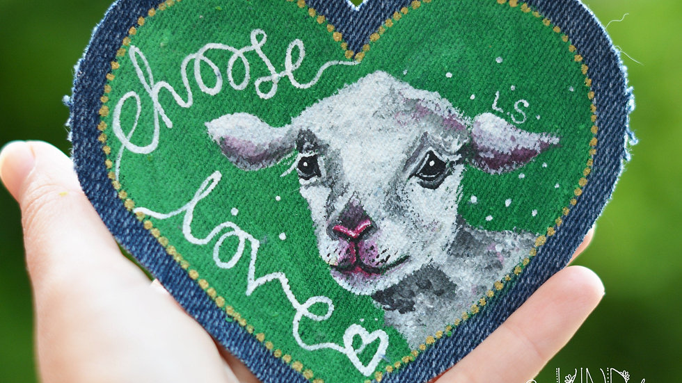 Hand Painted Lamb Heart Patch