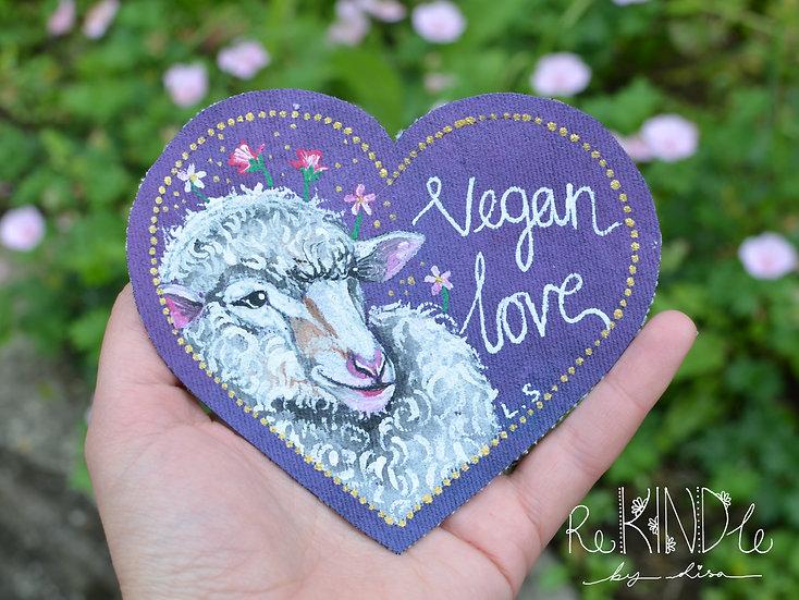 Hand Painted Vegan Sheep Sew On Patch 'Vegan Love'