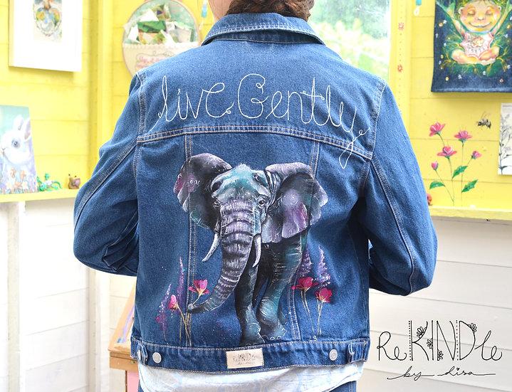 Size UK 12/ 14 Hand Painted, Upcycled, Vegan Denim Jacket Elephant