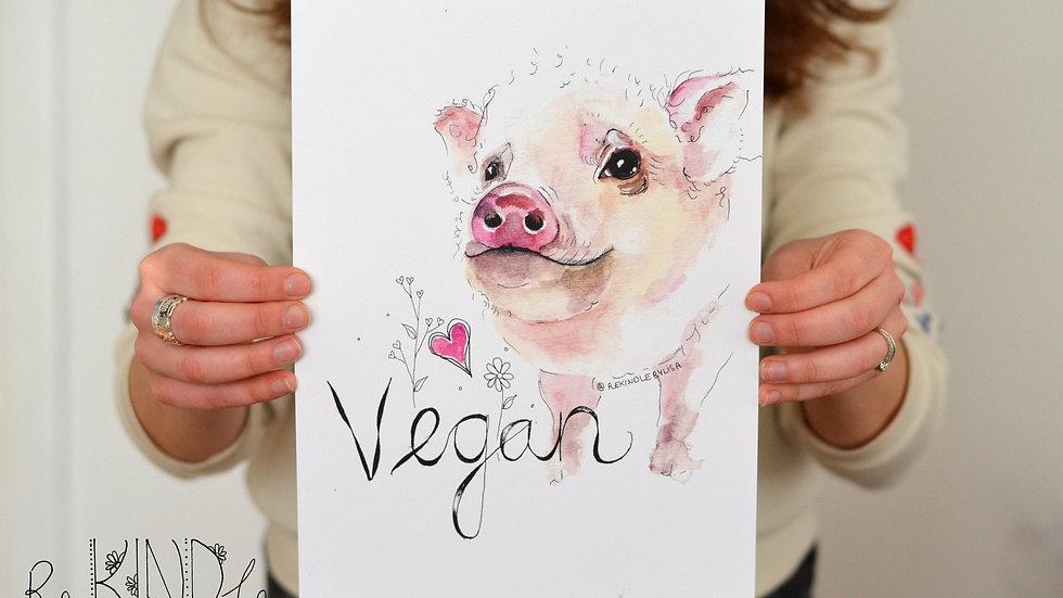 A4 Vegan Pig Art Print