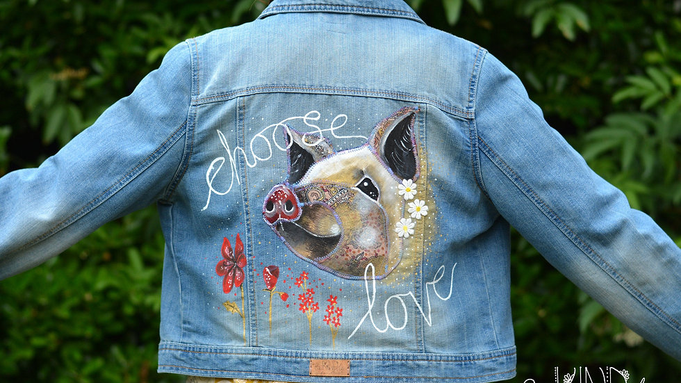 SIZE UK 14 Vegan Upcycled Embellished Jacket Pig