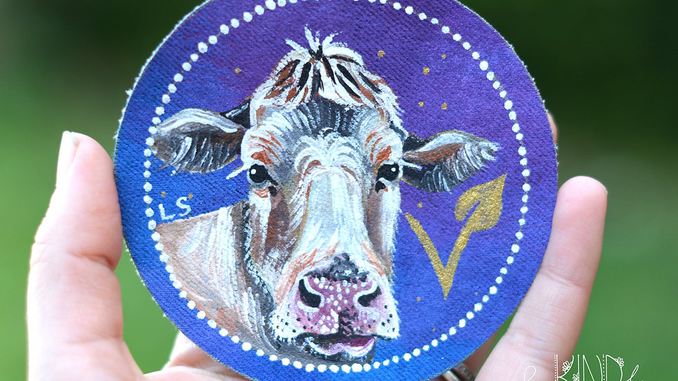 Hand Painted Cow Circle Patch