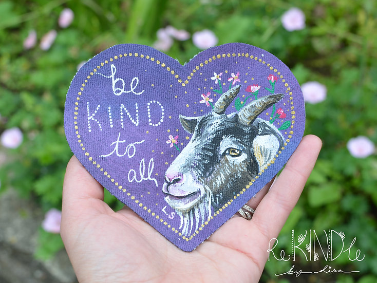 Hand Painted Vegan Goat Sew On Patch 'Be Kind To All'