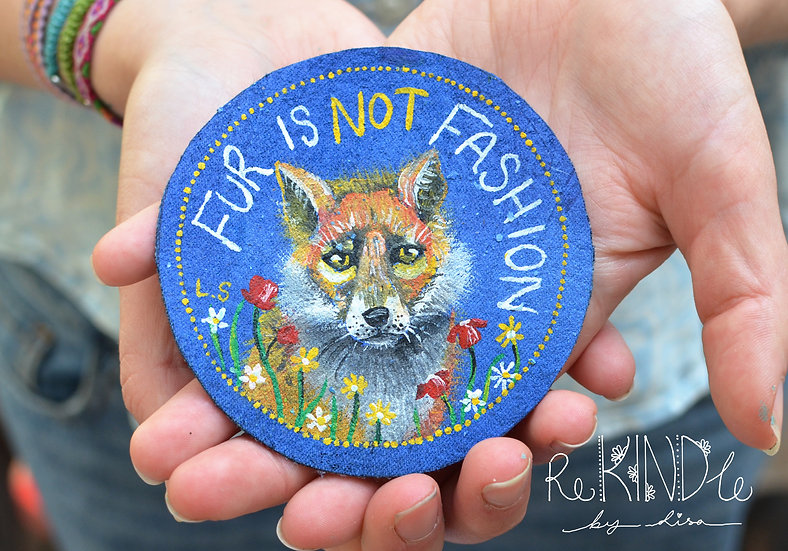 Hand Painted Vegan Sew on Patch Fox 'Fur is not fashion'