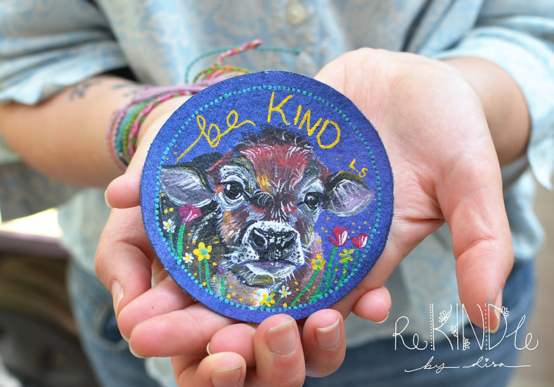 Hand Painted Vegan Cow Sew On Patch 'Be Kind'