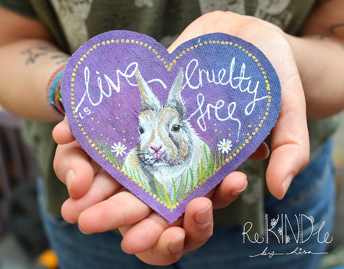 Hand Painted Vegan Sew On Patch 'Live Cruelty Free'