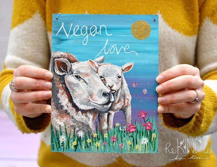 Recycled Hardboard Sheep and Lamb Vegan Painting