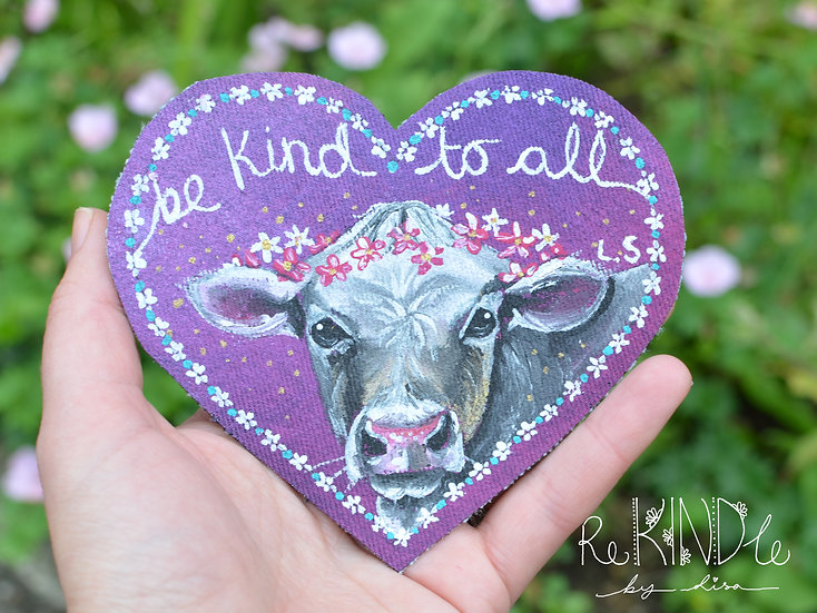 Hand Painted Vegan Cow Sew On Patch 'Be Kind To All'
