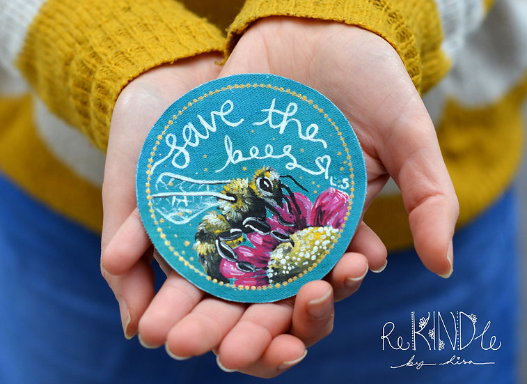 Hand Painted Bee Sew On Patch