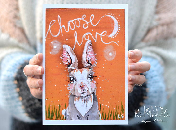 A5 Recycled, Eco Friendly Card Print 'Rabbit Choose Love'