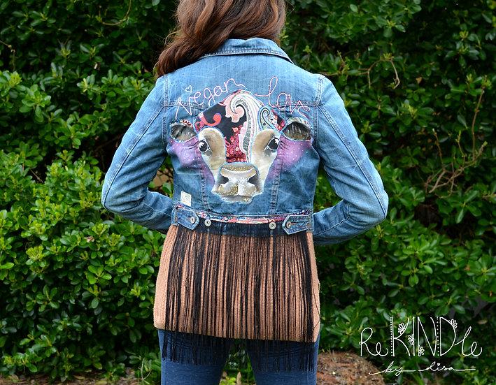 Size UK 12 Vegan, Hand Painted, Embellished Cropped Jacket