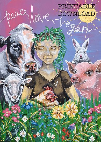PRINTABLE  'Peace, Love, Vegan' Art (Digital Download)